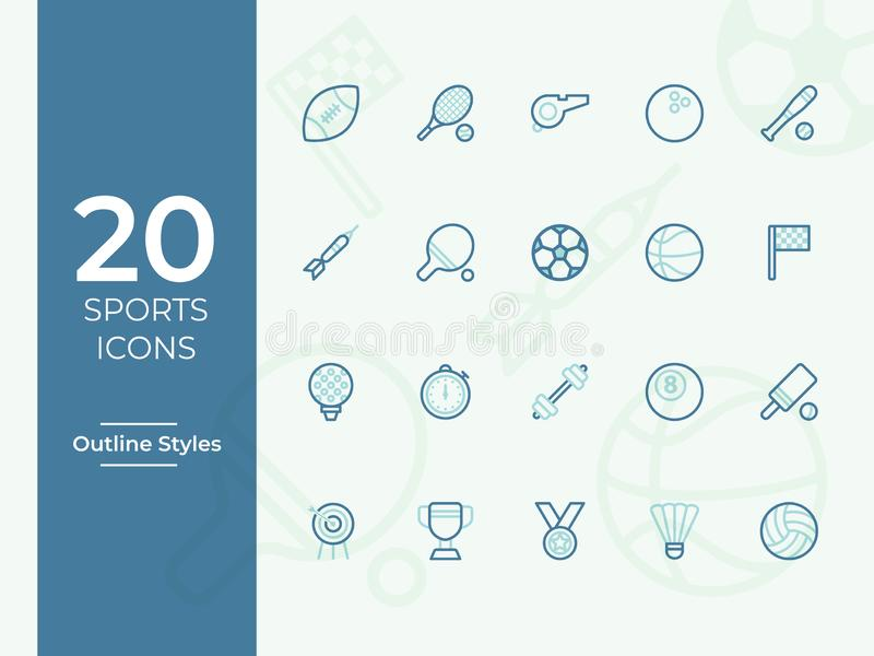 Vektorikone mit 20 Sport, einfache Entwurfs-, Entwurfsvektorikonen für Website oder mobiler App vektor abbildung