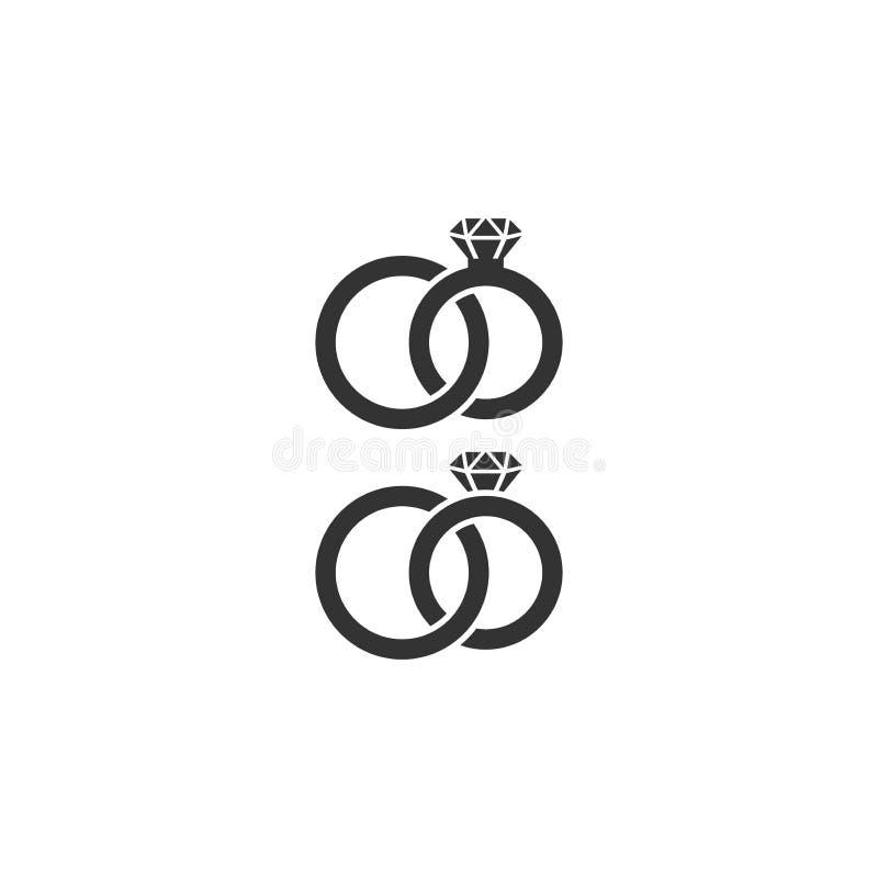 Vektorikone mit zwei Eheringen Diamond Wedding Rings Die verwirrten Braut- und Bräutigamringe lokalisierten Ikonen vektor abbildung