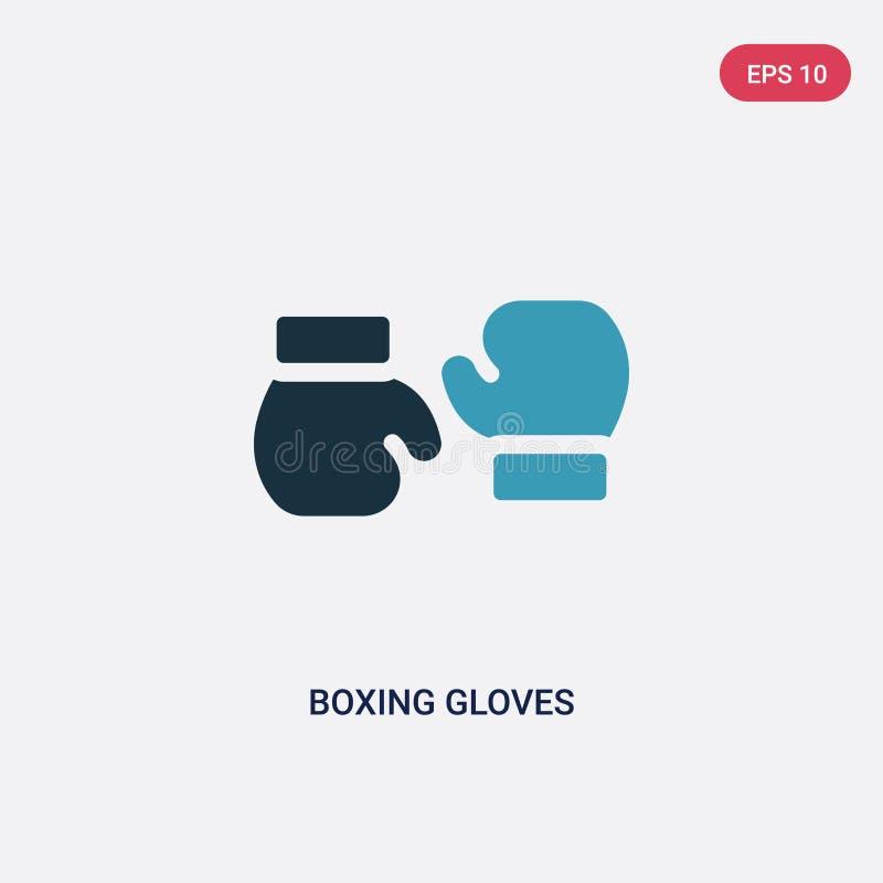 Vektorikone mit zwei Farbboxhandschuhen vom Leutefähigkeitskonzept lokalisiertes blaues Boxhandschuhvektor-Zeichensymbol kann Geb lizenzfreie abbildung