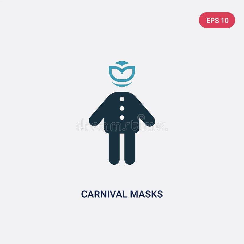 Vektorikone mit zwei Farbkarnevalsmasken vom Leutekonzept lokalisiertes blaues Karnevalsmaskenvektor-Zeichensymbol kann Gebrauch  vektor abbildung