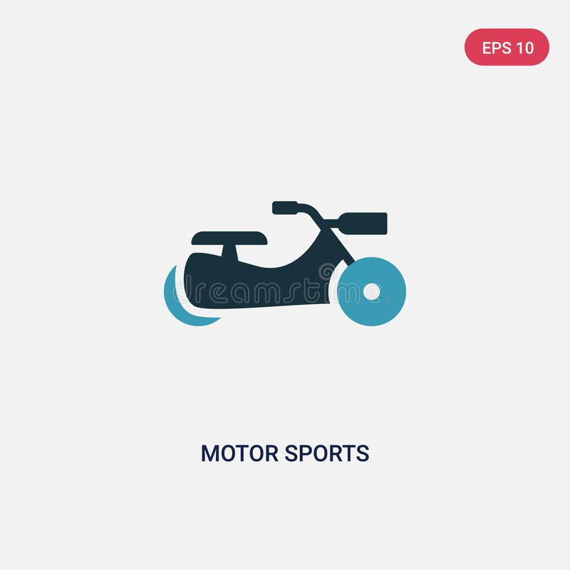 Vektorikone mit zwei Farbmotorsporten vom Sportkonzept lokalisiertes blaues Motorsportvektor-Zeichensymbol kann Gebrauch für Netz stock abbildung