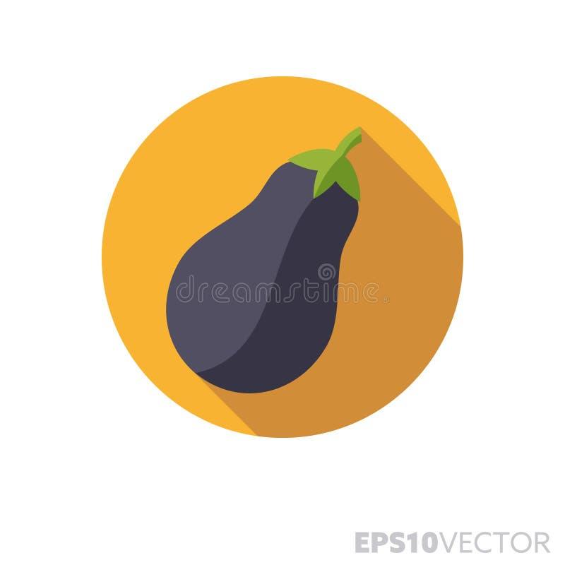 Vektorikone shadwo flacher Entwurf der Aubergine lange Farb lizenzfreie abbildung