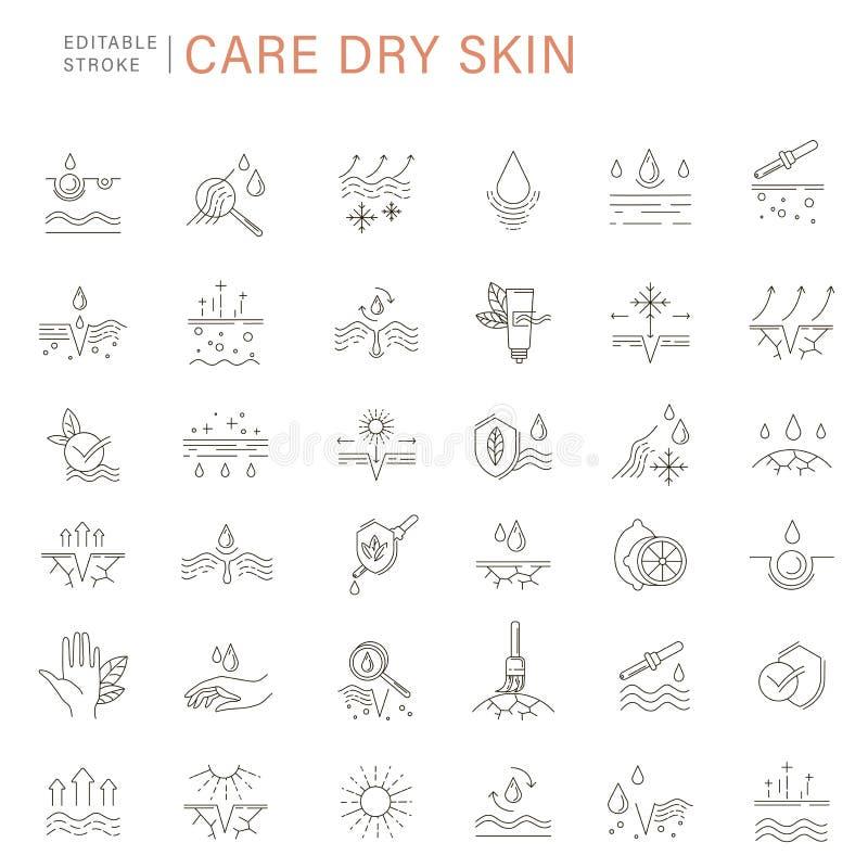 Vektorikone und -logo für Naturkosmetik und trockene Haut sich interessieren lizenzfreie abbildung