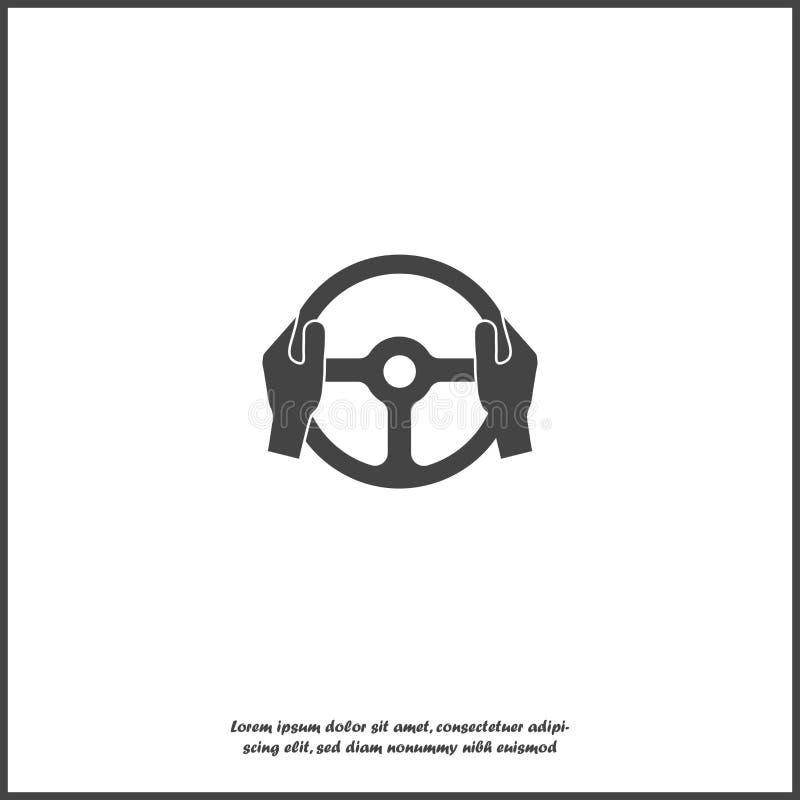 Vektorikone von Autolenkrad- und -Fahrerhänden auf weißem lokalisiertem Hintergrund lizenzfreie abbildung