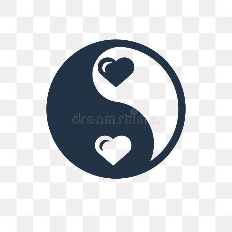 Vektorikone Yin Yang lokalisiert auf transparentem Hintergrund, Yin Yan lizenzfreie abbildung