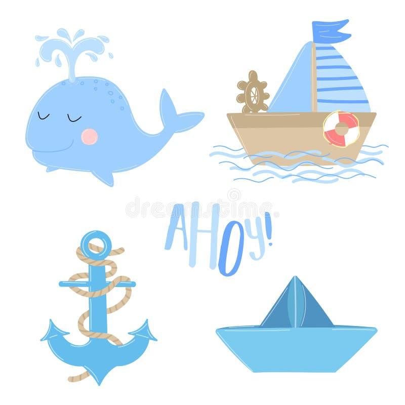 Vektorikonen des Schiffs, Anker, Wal, Boot mit der Aufschrift ahoi Illustration auf dem Seethema für einen Jungenseemann Einladun stock abbildung