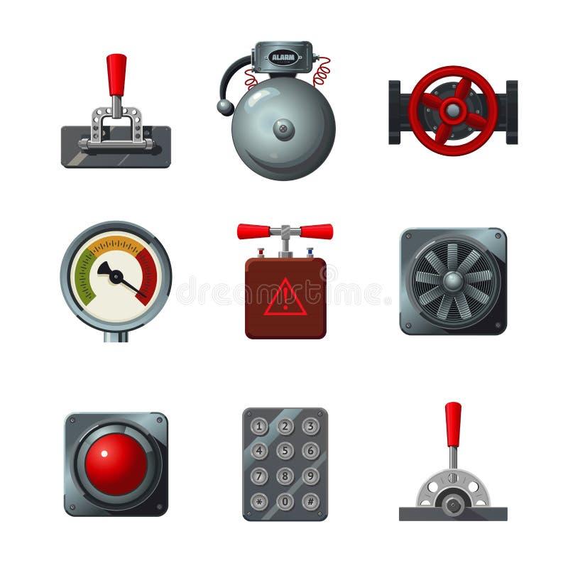 Vektorikonen eingestellt mit Industriedesignelementen Gegenstand der analogen Schnittstelle lokalisiert auf Weiß Hebel, Schalter, stock abbildung