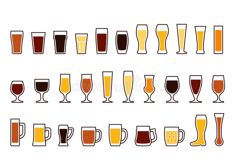 Vektorikonen eingestellt von den Bierkrügen und von den Gläsern lizenzfreie abbildung