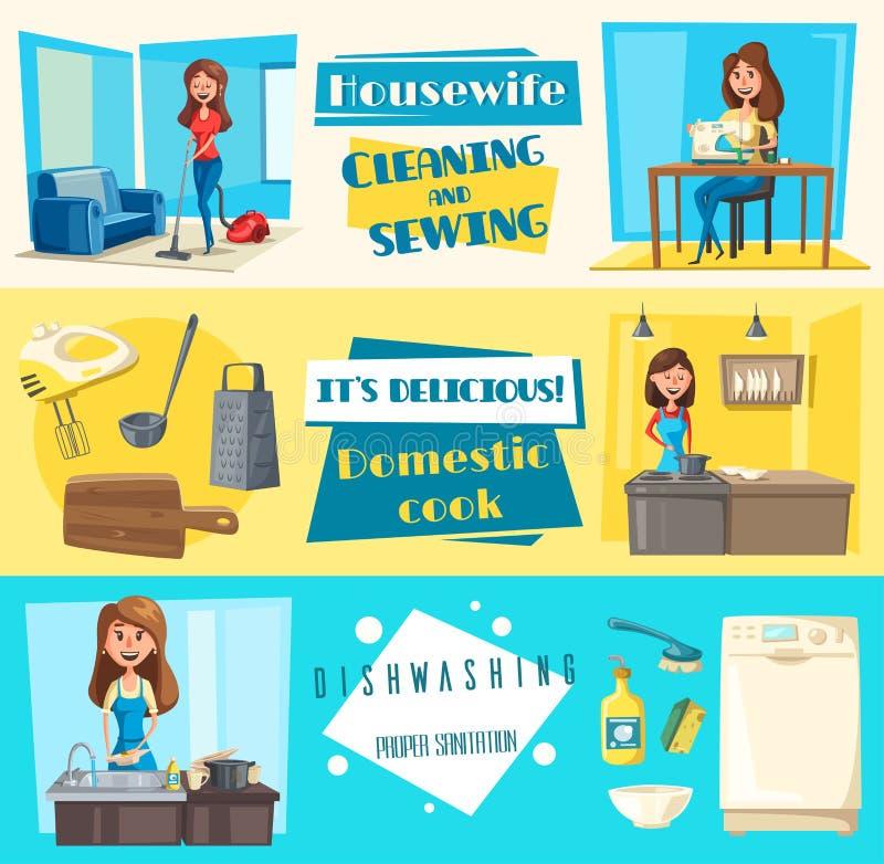 Vektorikonen für das waschende Nähen der Hausarbeitreinigung lizenzfreie abbildung