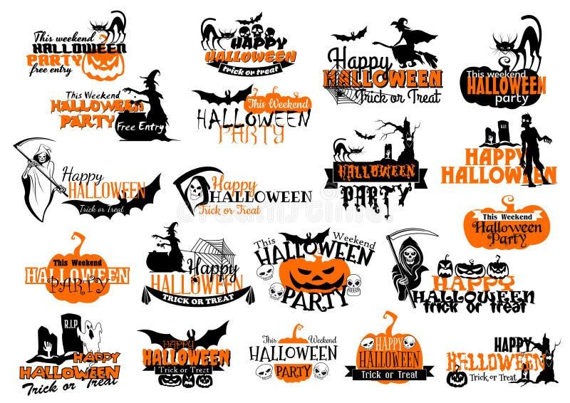 Vektorikonen für glückliche Halloween-Urlaubsparty lizenzfreie abbildung