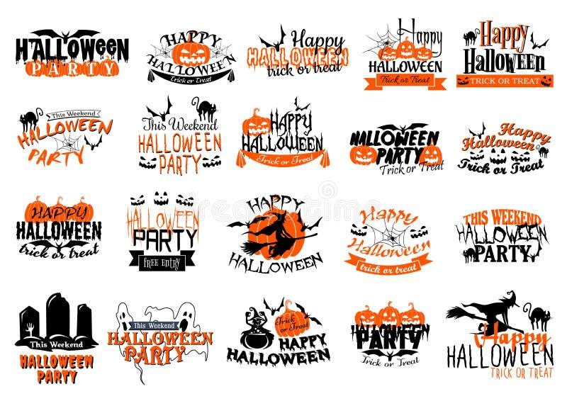Vektorikonen für glücklichen Halloween-Parteifeiertag stock abbildung