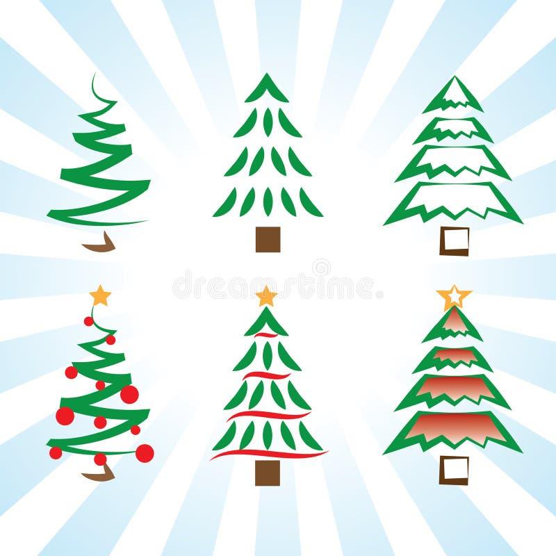 Vektorikonen-Kunstveränderungen der Kiefer- und Weihnachtsbäume einfache lizenzfreie abbildung