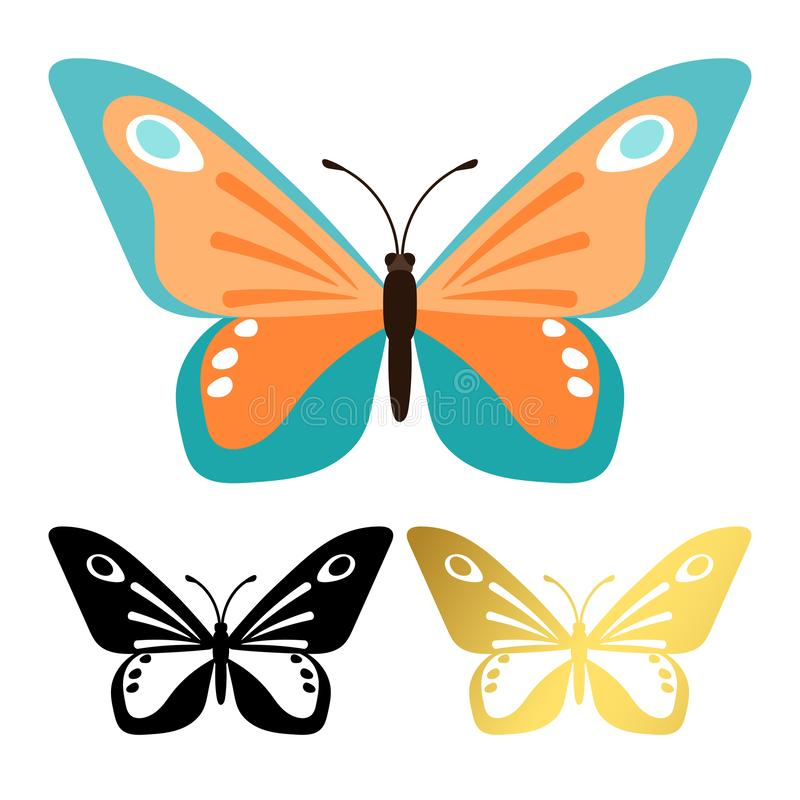 Vektorikonen von den Schmetterlingen lokalisiert auf weißem Hintergrund vektor abbildung