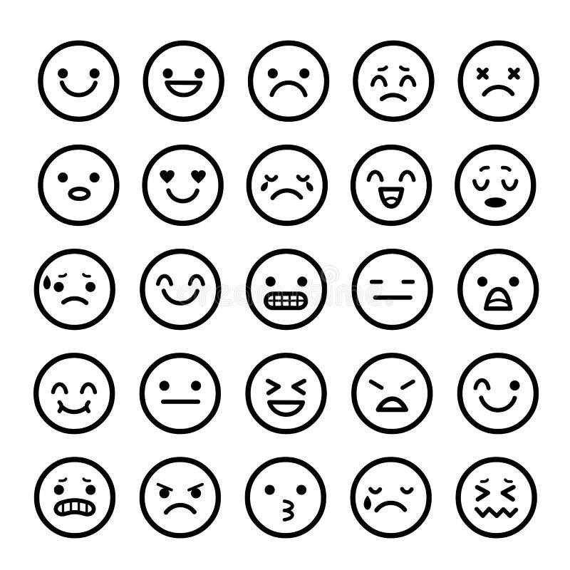 Vektorikonen von smiley stellt Gefühl Karikatur gegenüber lizenzfreie abbildung
