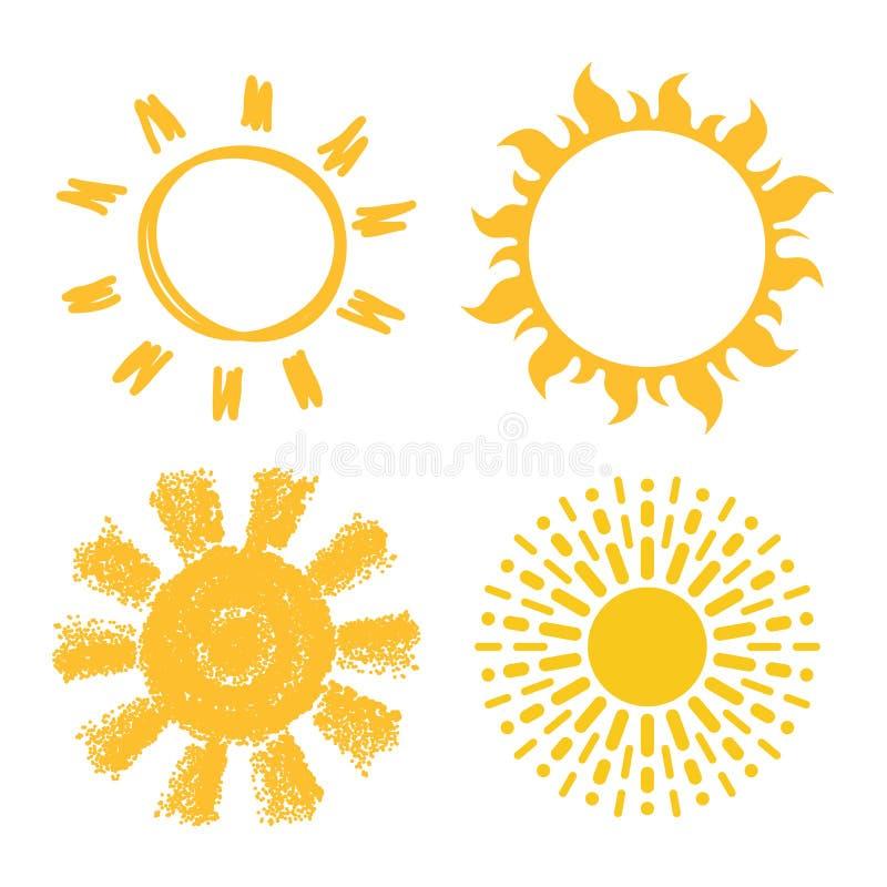 Vektorikonen von Sonnen lizenzfreie abbildung
