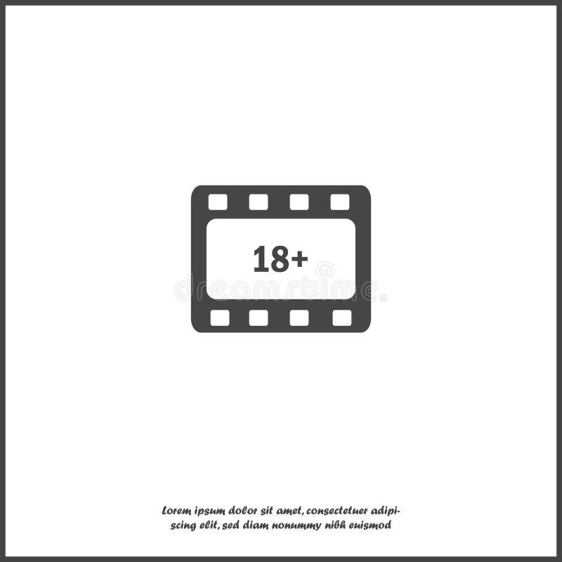 Vektorikonenfilm 18+ Altersbeschränkungssymbol auf weißem lokalisiertem Hintergrund vektor abbildung