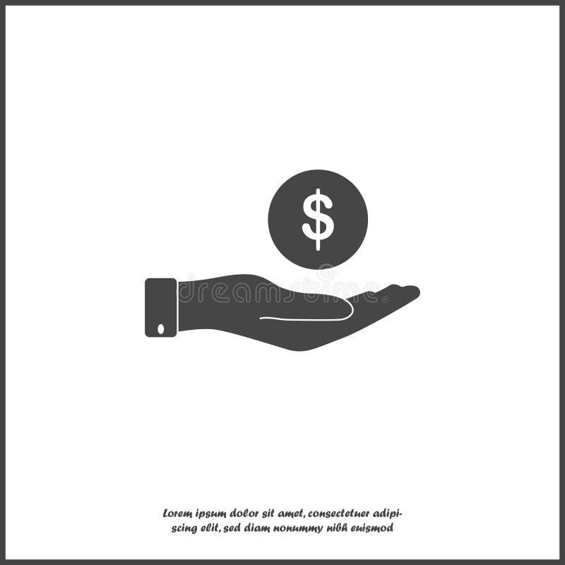 Vektorikonenhand, die eine Münze hält Flacher Handentwurf und Geldikone auf weißem lokalisiertem Hintergrund vektor abbildung