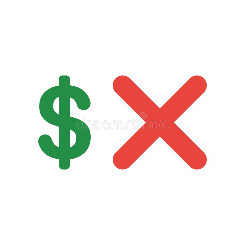 Vektorikonenkonzept des Dollarsymbols mit x-Kennzeichen vektor abbildung