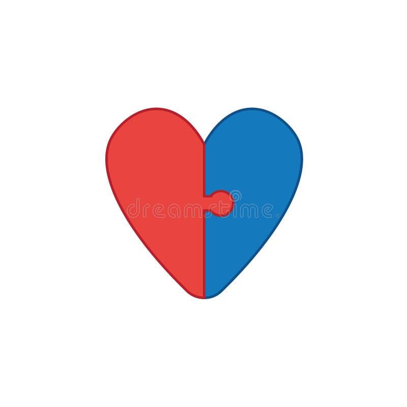 Vektorikonenkonzept von verbundenen Herzpuzzlespielstücken Farbige und Farbentwürfe lizenzfreie abbildung
