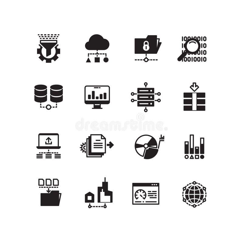 VEKTORikonensatz der Informationstechnologie der großen Datendatenbankanalytikwolke Datenverarbeitungsdigitaler Verarbeitungs vektor abbildung