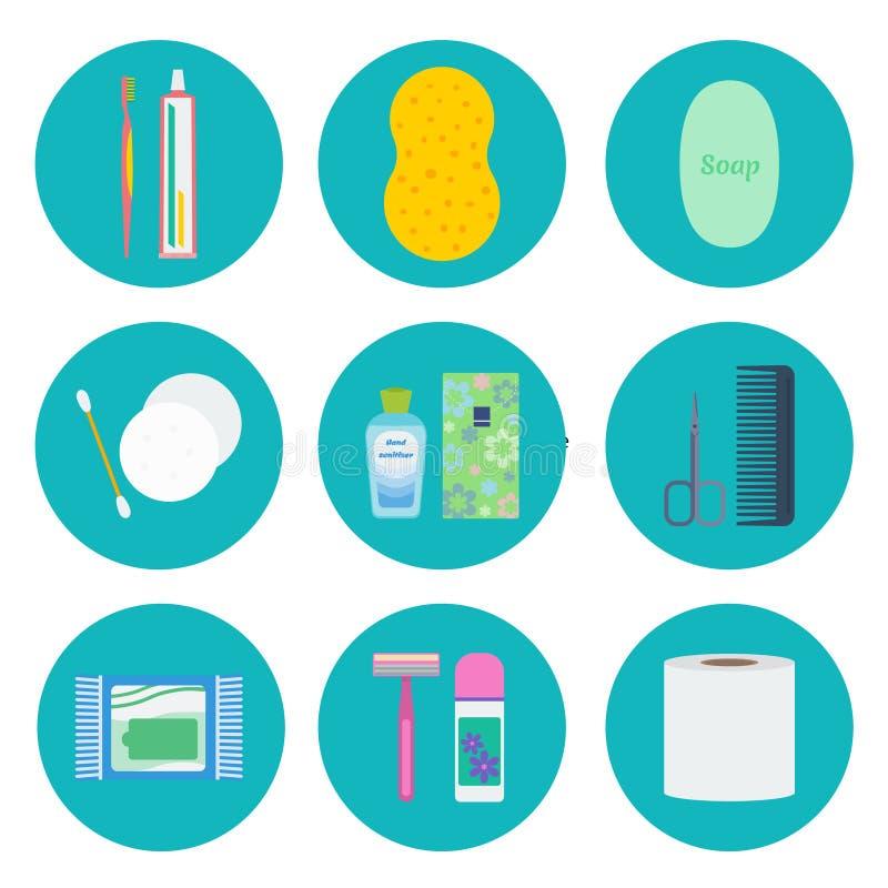 Vektorikonensatz der persönlichen Hygiene stock abbildung