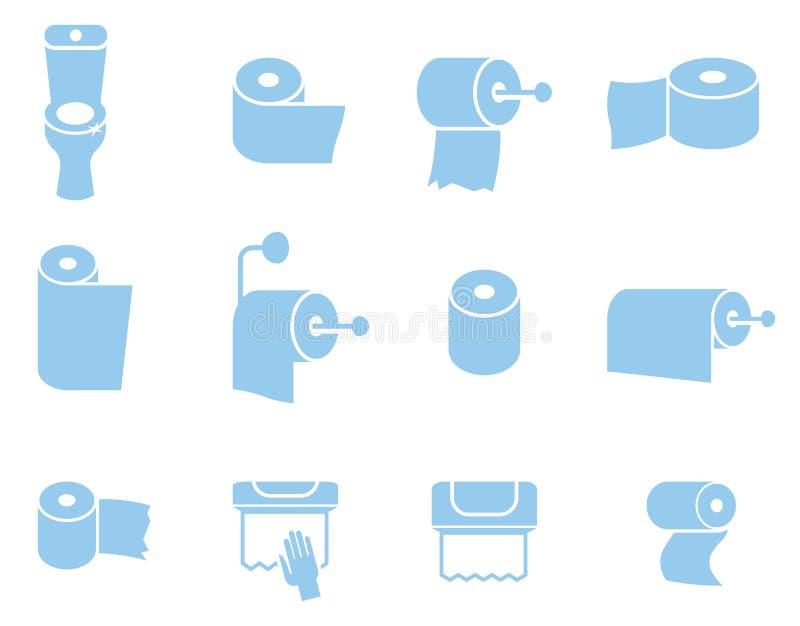 Vektorikonensatz Toilettenpapierservietten und -tücher lizenzfreie abbildung