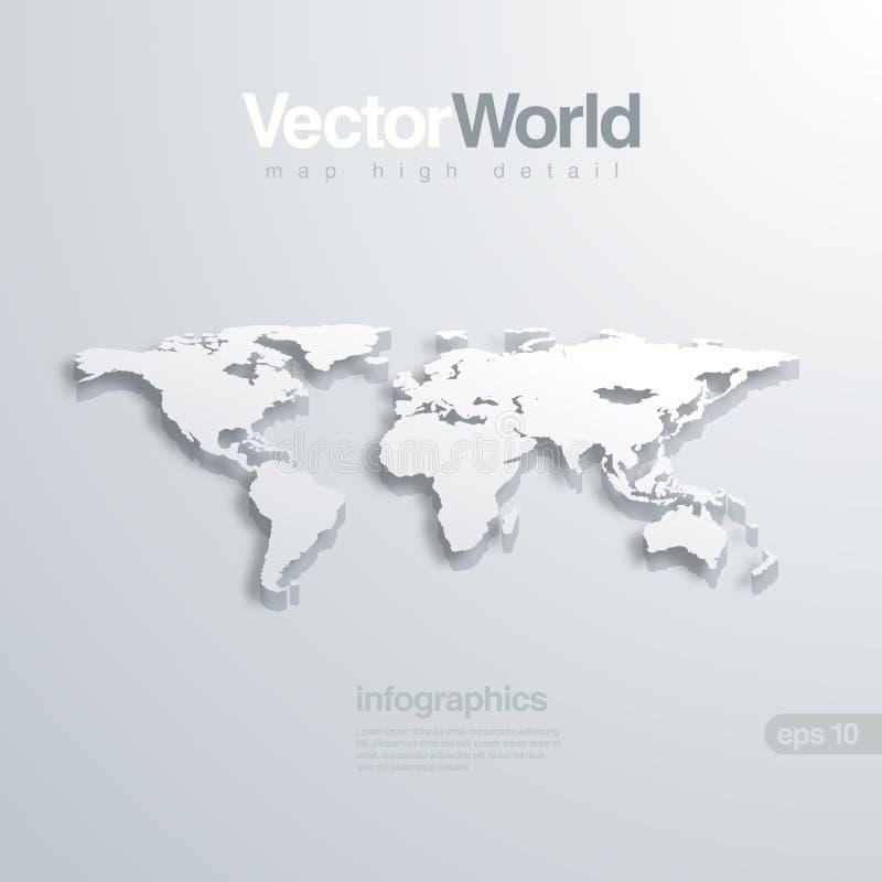 Vektorilllustraion för världskarta 3D. Användbart för infog stock illustrationer