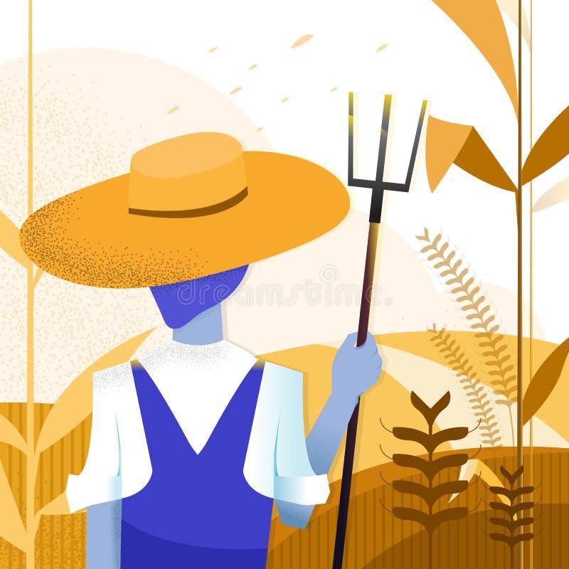 Vektorillustration - åkerbruk bonde sommar för natur för caucasus dombailiggande konst Havrelantgård Bakgrund royaltyfri illustrationer