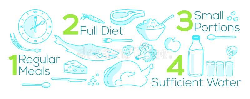 Vektorillustration über regelmäßige Mahlzeiten, gute Diät, kleine Teile, genügendes Wasser stock abbildung