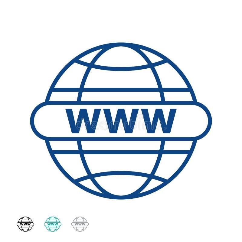 Vektorillustration att gå till rengöringsduklinjen symbol Internet www - world wide websymbol teknologier f?r datorsymbolsinterne stock illustrationer