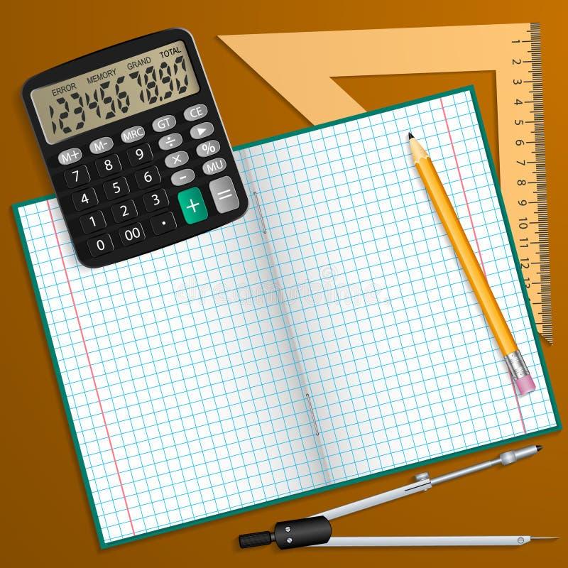 Vektorillustration auf dem Thema der Schule Notizbuch, Bleistift, Taschenrechner, Machthaber und Kompass auf dem Tisch gelegt stock abbildung