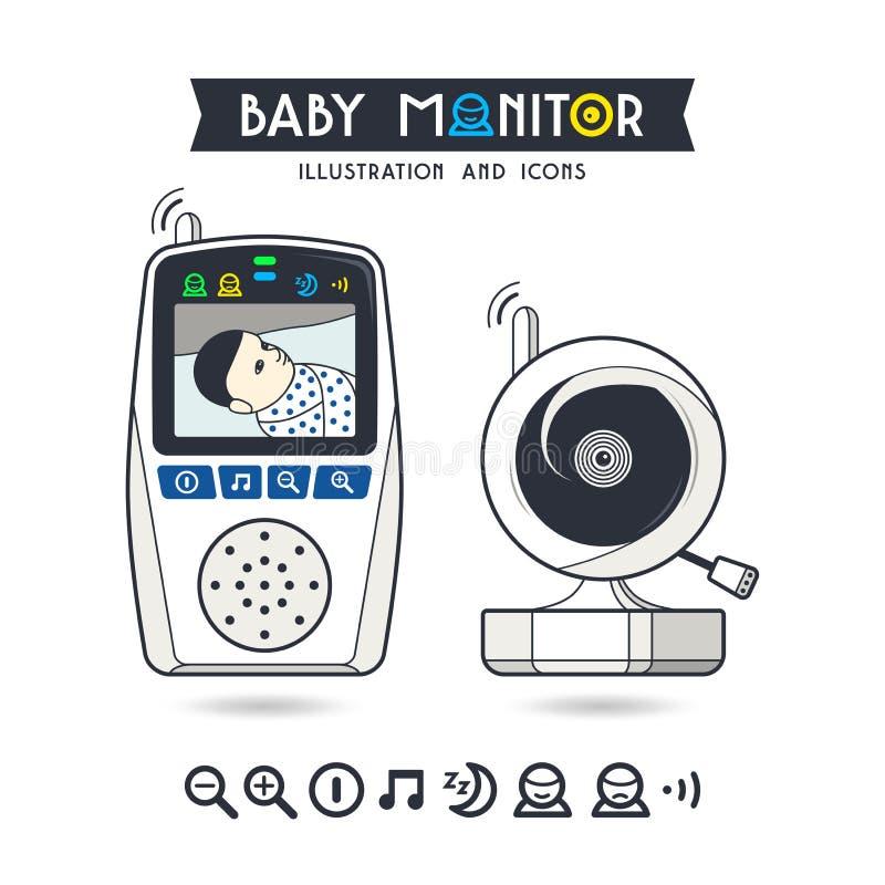 Vektorillustration auf Lager des Babymonitors und -ikonen stock abbildung