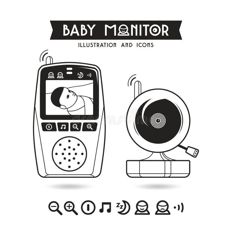 Vektorillustration auf Lager des Babymonitors und -ikonen lizenzfreie abbildung