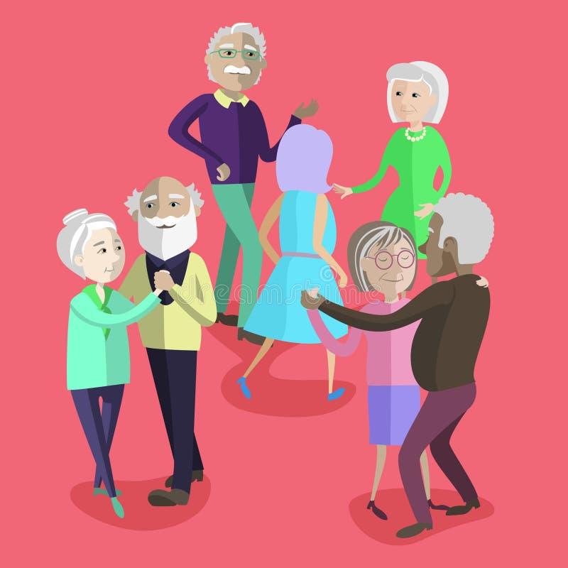 Vektorillustration av äldre folk som dansar på partiet stock illustrationer