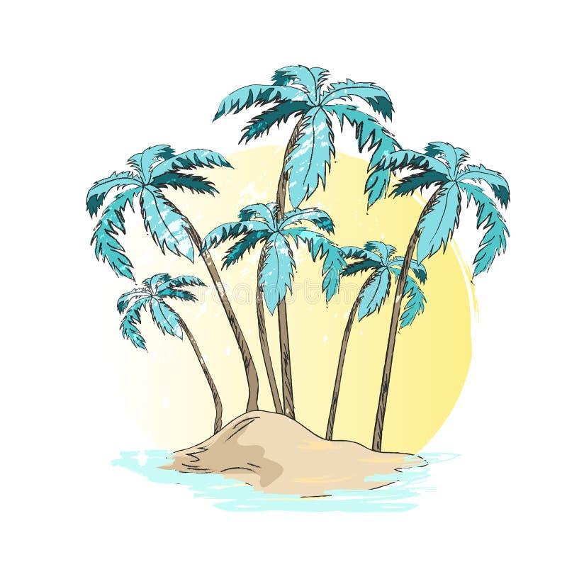 Vektorillustration av öde öpalmträd vektor illustrationer