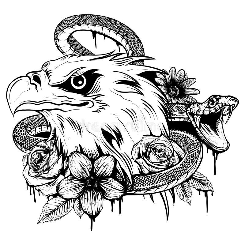 Vektorillustration av örnkampen med ormen royaltyfri illustrationer