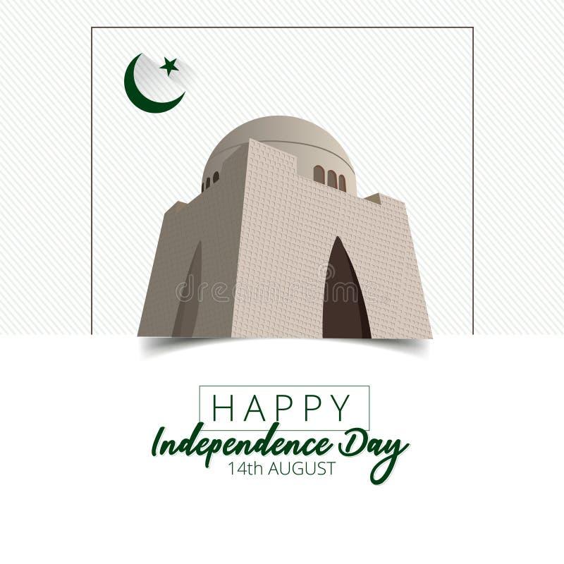 Vektorillustration av abstrakt bakgrund f?r den Pakistan sj?lvst?ndighetsdagen, 14th av Augusti stock illustrationer