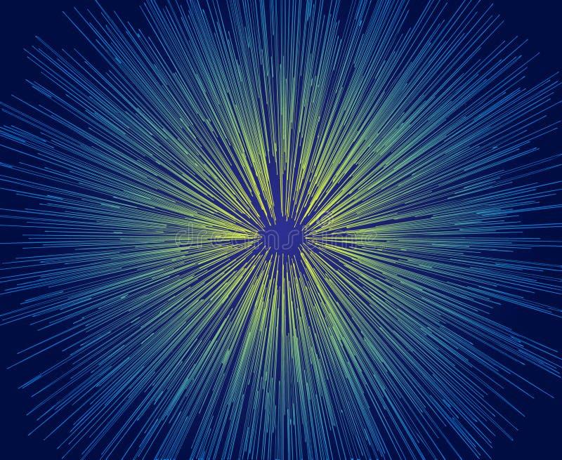 Vektorillustration av abstrakta blått och gula linjer på en svart bakgrund vektor illustrationer