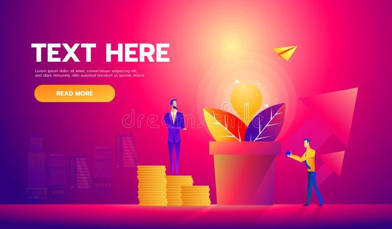 Vektorillustration av affärsmän som väljer dollar från pengarträd Pengarväxt Affärstillväxt, finansiell framgång royaltyfri illustrationer