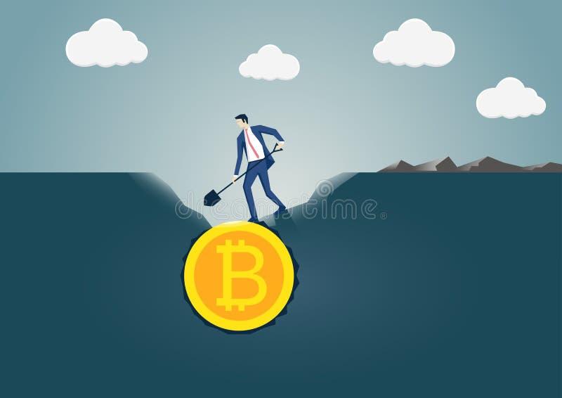 Vektorillustration av affärsmannen som gräver och upptäcker Bitcoin det guld- myntet Begrepp för bitcoinatt bryta och utveckling royaltyfri illustrationer