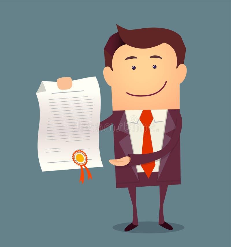 Vektorillustration av affärsmannen som står och visar proudly ett diplom royaltyfri illustrationer