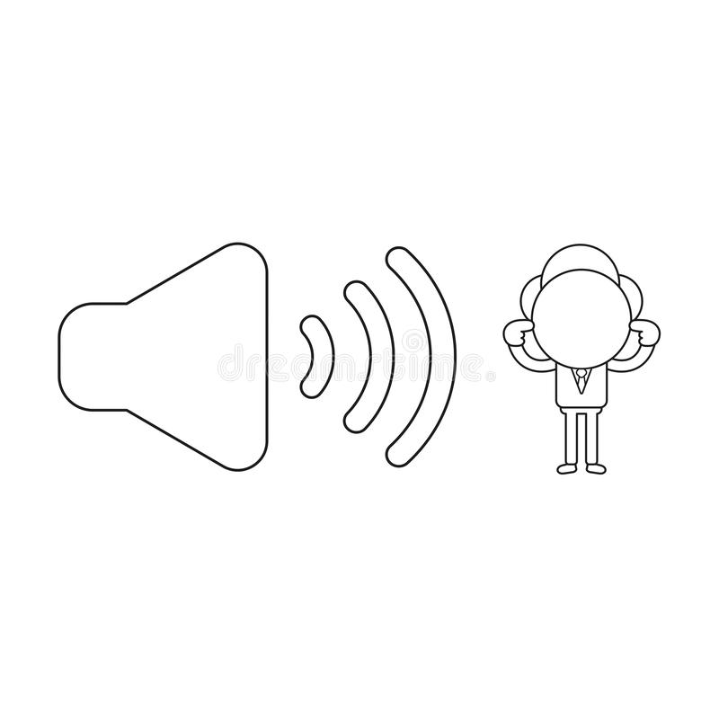Vektorillustration av affärsmanteckenet med ljudet på symbo vektor illustrationer