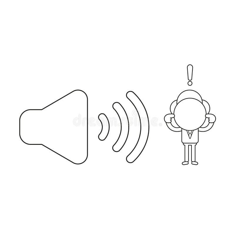 Vektorillustration av affärsmanteckenet med solitt symbol och stängande öron Svart översikt stock illustrationer
