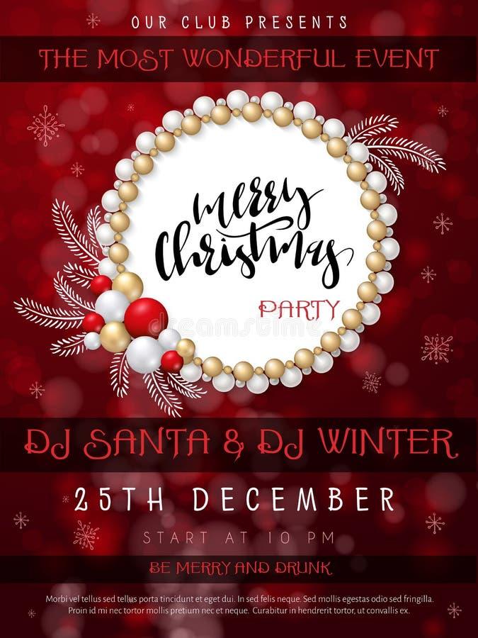 Vektorillustration av affischen för julparti med handbokstäveretiketten - glad jul - med pärlor, struntsaker vektor illustrationer