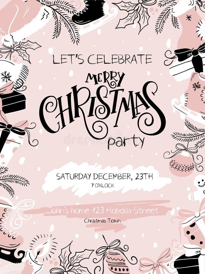 Vektorillustration av affischen för julparti med handbokstäveretiketten - jul och handen drog beståndsdelar - gran-träd vektor illustrationer