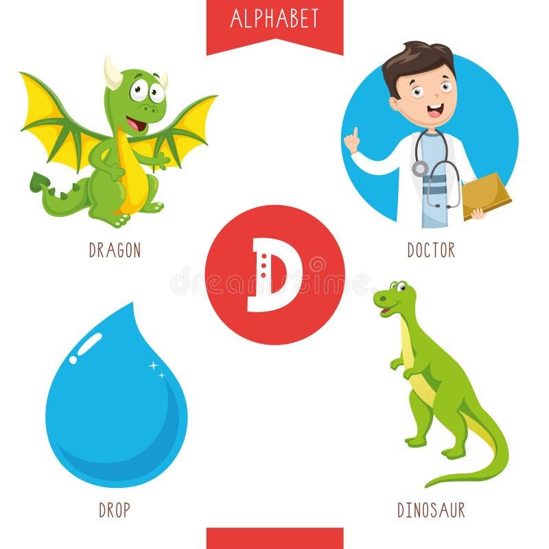 Vektorillustration av alfabetbokstav D och bilder stock illustrationer