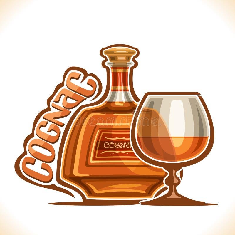 Vektorillustration av alkoholdrinken Cognac stock illustrationer