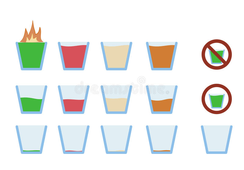 Vektorillustration av alkoholskottdrinken i exponeringsglas stock illustrationer