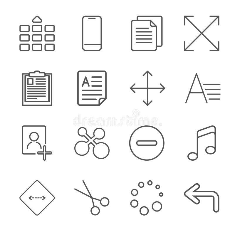Vektorillustration av appssymbolsupps?ttningen ?ver linnetextur Universella symboler f?r apps royaltyfri illustrationer