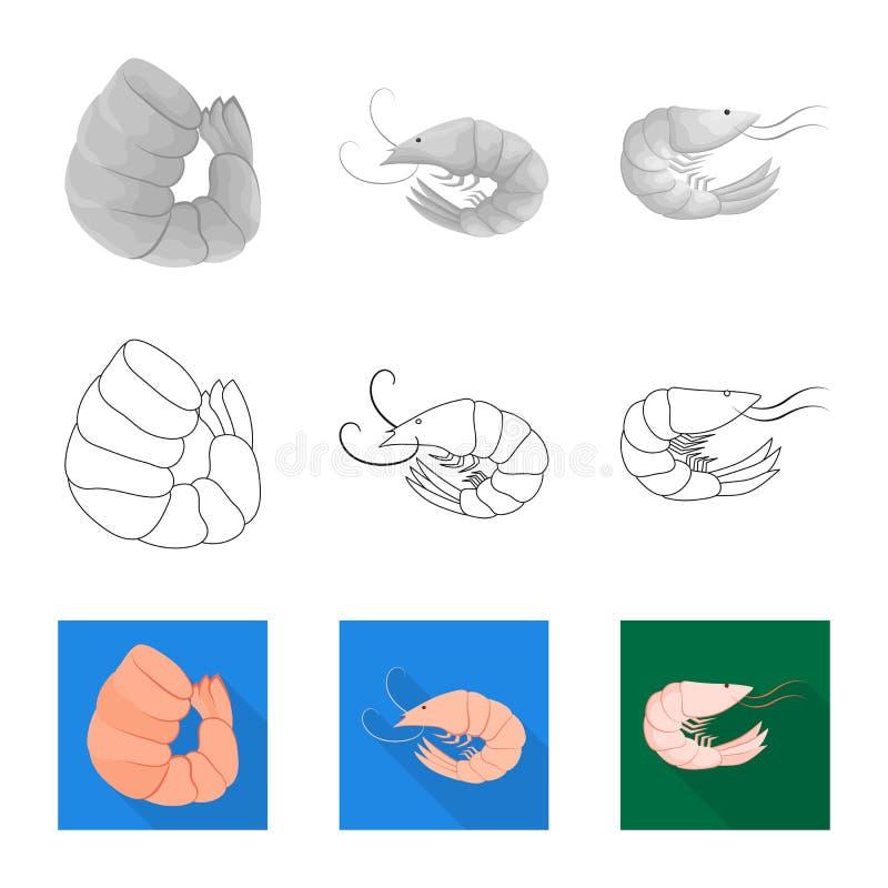 Vektorillustration av aptitretare- och havsymbolet Samling av aptitretare- och l?ckerhetmaterielsymbolet f?r reng?ringsduk vektor illustrationer